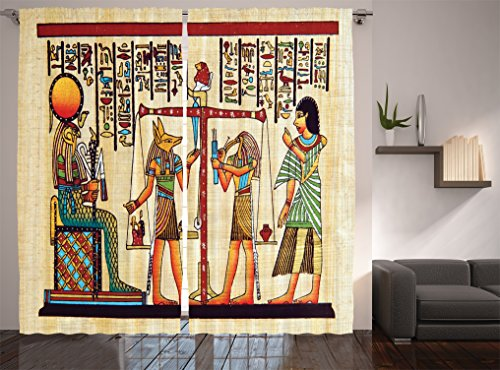 (Ambesonne Egyptian Decor Collection, Papyrus with Egyptian Ancient Manuscript History Picture Print, Window Treatments, Living Kids Girls Room Curtain 2 Panels Set, 108 X 84 Inches, Ivory Paprika)
