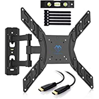 "PERLESMITH TV Wall Mount for 23""-55"" TVs - Wall Mount TV Bracket with Swivel & Extends 16"" - Create the Perfect Viewing Angle - TV Mount fits LED, LCD, OLED Flat Screen TVs - Bonus HDMI Cable"