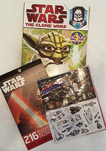 Star Wars Coloring Stickers Set ~ The Clone Wars Duty and Honor Big Fun Coloring Book ~ Color-In Sticker Set ~ Additional Set 216 Colorful Stickers (Bundle 3)