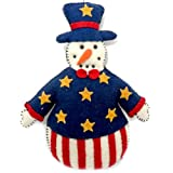 Mr. American Snowman with Stars and Red Stripes Felt Applique Ornament 7.5