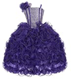 AkiDress Ruffle Sparkle Bodice and Elastic Back Pageant Dress for Little Girl Purple 12