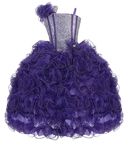 AkiDress Ruffle Sparkle Bodice and Elastic Back Pageant Dress for Little Girl Purple 12 by Aki_Dress