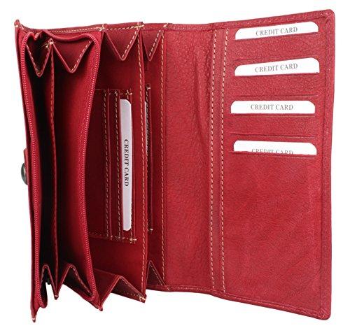vera pulsante Talpa in con rossa Portafoglio cerniera e rotonda pelle TZfSwA