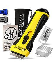 Mansons Ceran® kookplaatschraper I Schraper voor keramische kookplaat en oven I Glasschraper reiniger voor inductiekookplaat & glaskeramiek met 15 messen (Geel)