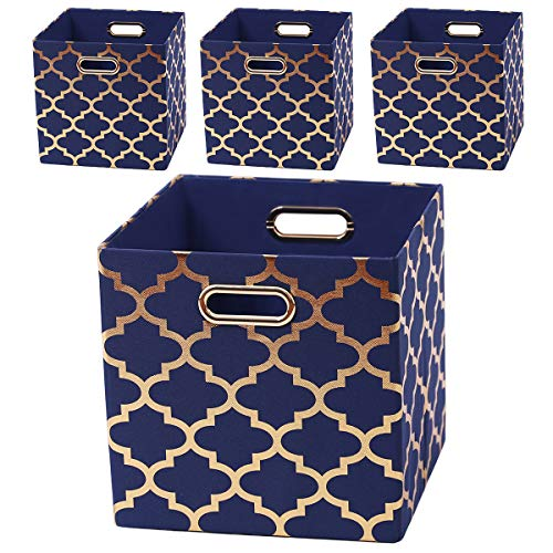 Posprica Foldable Storage Bins,11×11 Storage Baskets Cube Boxes Containers Closet Organizers,More Durable Fabric Drawers (4pcs, Navy/Gold -