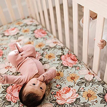 The Mini Scout Woven Crib Sheets Garden Floral Rose Pink