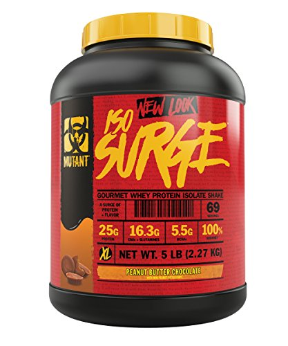 Mutant ISO Surge Whey Protein Powder Acts FAST to Help Recover, Build Muscle, Bulk and Strength, Uses Only High Quality Ingredients, 5 lb - Peanut Butter Chocolate
