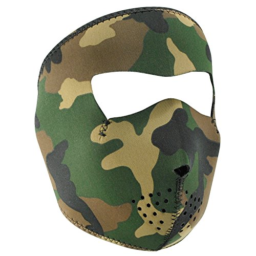 ZANheadgear WNFM118 Woodland Camouflage Neoprene Face Mask - Neoprene Motorcycle Face Mask