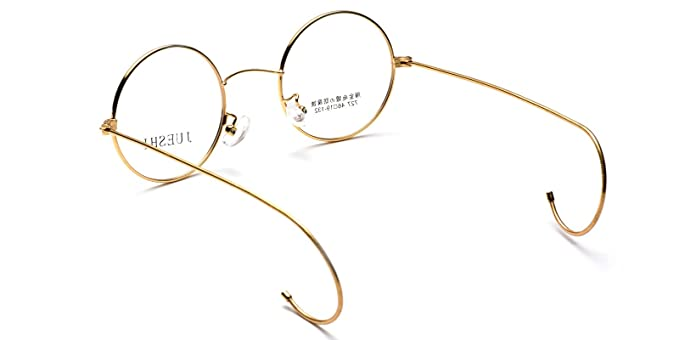 09e292a963 Vintage Cable Temple Round Eyeglass Frame Spectacles Rx Retro Mens Women  Kids (Gold
