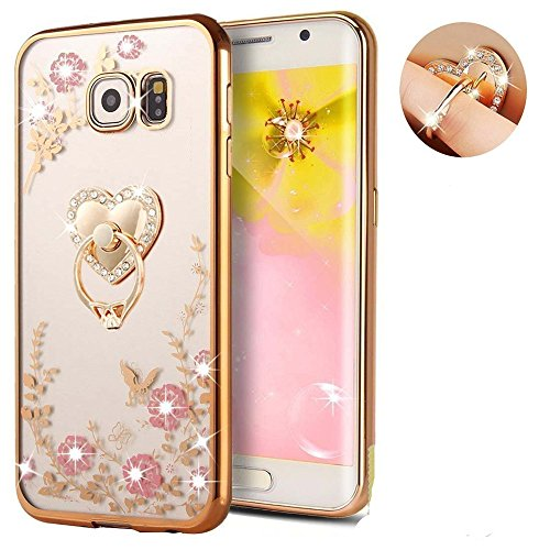 Inspirationc Soft Slim Bling Plating Rubber Cover for Samsung Galaxy S7 Edge with Rhinestone Diamond and Detachable 360 Ring Stand
