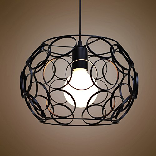 Industrial Cage One-light Pendant Light-LITFAD 12.6