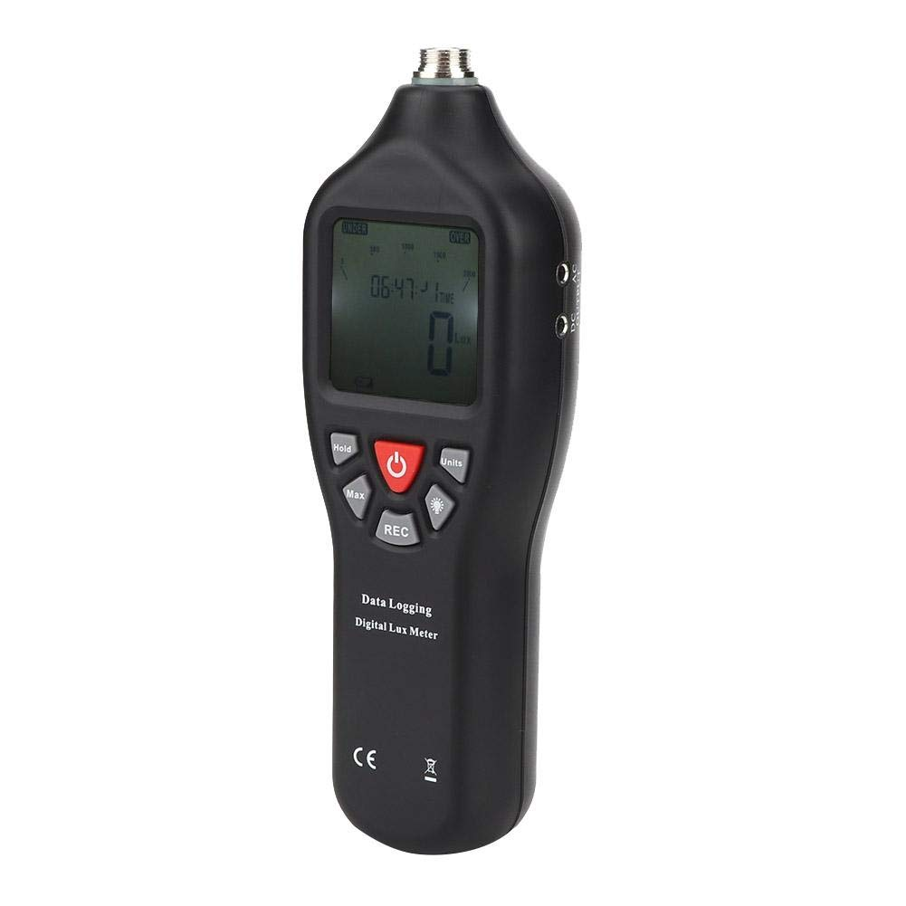 Digital Illuminometer, Portable Digital Illuminometer High Precision 0 to 200,000 Lux Luxmeter with AC DC Cable by AYNEFY