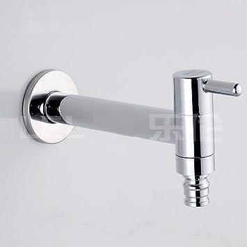 Grifo monomando de pared de agua fría para lavabo y lavabo de latón, grifos de lavadora para jardín, acabado cromado: Amazon.es: Bricolaje y herramientas