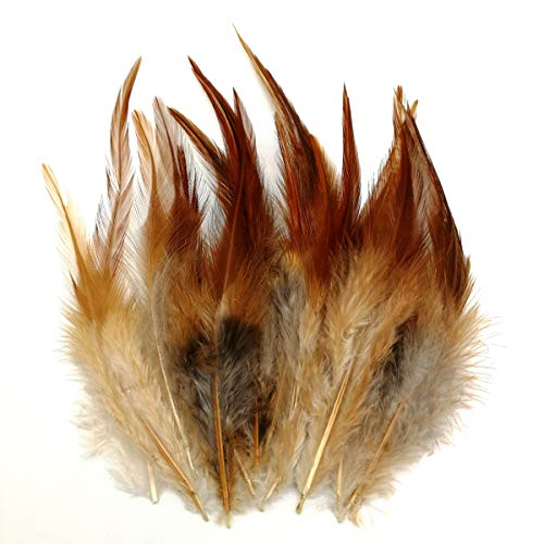 - 100pcs Saddle Feathers Hackle Rooster Feathers Dyed Neck Feathers for Craft DIY Pendant Earrings Jewelry Costume Dream Catcher 5-6 Inch (Natural Colour)