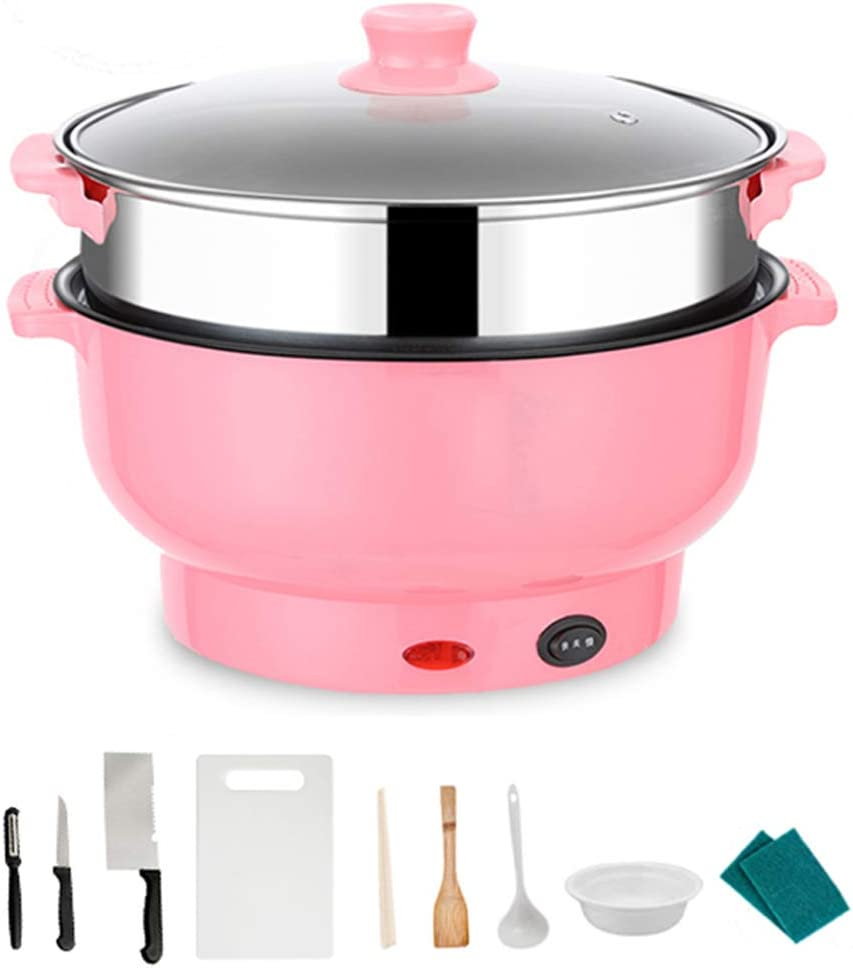 DBM-CXG Small Multifunctional Household Electric Slow Cooker, Adjustable Temp, Entrees, Sauces, Stews & Dips, Dishwasher-Safe Glass Lid & Ceramic Pot, 1.5L Capacity,Pink