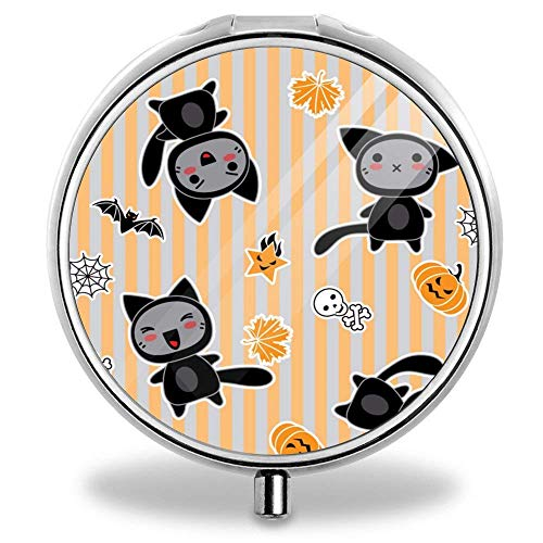 Ted GIen Pill Box Compact 3 Compartment Pill Box for Pocket or Purse Halloween Cartoon -