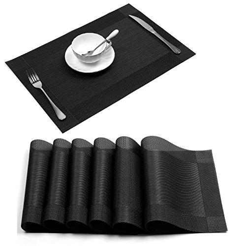 Placemat,U'Artlines Crossweave Black Woven Vinyl Non-slip Insulation Placemat Washable Table Mats Set of 6
