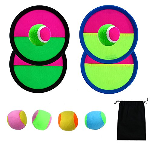 Catch Ball Set - Aneco Paddle Catch Ball and Toss Game Set Disc Toss and Catch Paddle Game with 1 Storage Bag, 4 Paddles and 6 Balls (2 Big Balls and 4 Small Balls)