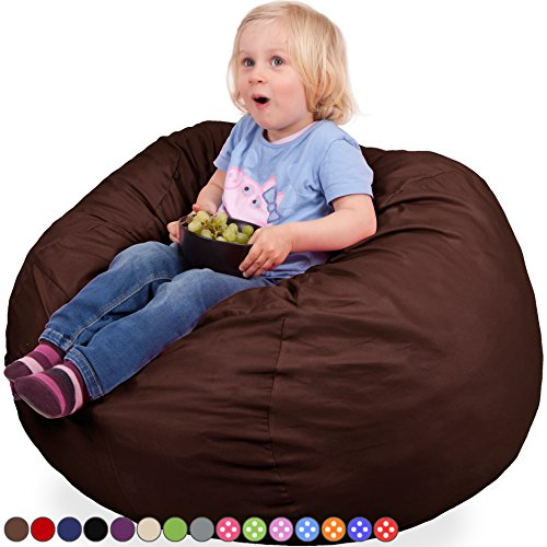 Oversized Bean Bag Chair in Espresso - Machine Washable Big Soft Comfort Cover & Memory Foam Filler - Cozy Lounger & Bed - Kids & Teens Love This Huge Sack - Indoor Furniture By Panda Sleep (Brown Bean Bag Chair)
