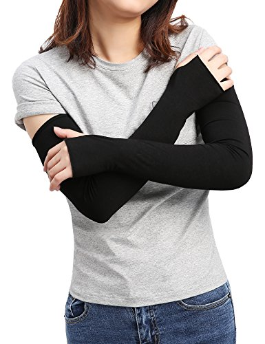 Sheeper Women's Arm Warmer Sleeve Sun Block Stretchy Long Fingerless Driving Gloves (Black) -