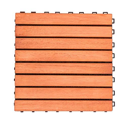 Cheap  V375 Eucalyptus Hardwood - 8 Straight Slat Design - Interlocking Wood Deck..