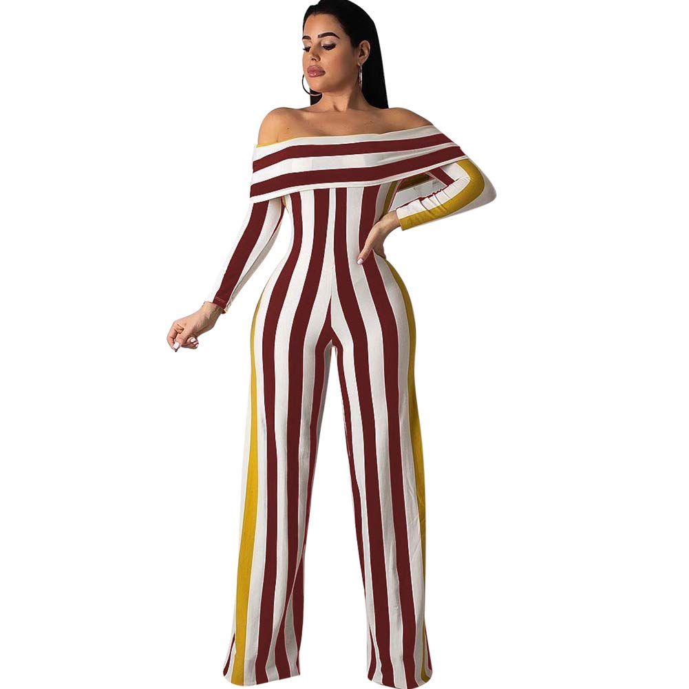 Desirepath Womens Summer Sexy Full Sleeve Off Shoulder Striped Wide Leg Jumpsuits (M, Wine red)