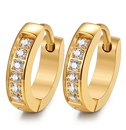 FIBO STEEL 13MM Stainless Steel Small Hoop Earrings for Men Women Huggie Earrings CZ Inlaid Gold-Tone (Gold Tone Huggie Earrings)