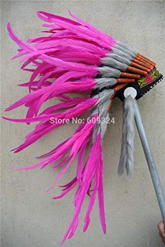 Maslin Hot Pink Indian Feather Headdress Handmade Feather Costumes indain Feather Headdress Indian war Bonnet American Costumes ()