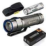 Olight S1A Stainless Steel Mini EDC 600 Lumens Cree XM-L2 LED PMMA TIR Lens Powered by AA OR 14500 Battery Compact LED Black Magnetic Tailcap Flashlight with Skyben Holster