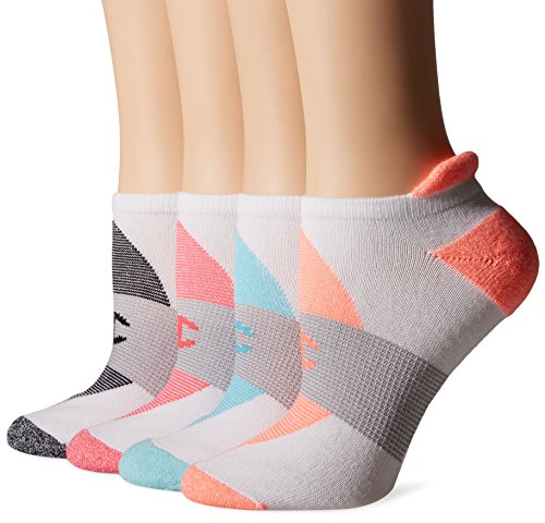 (Champion Women's Double Dry 4-Pack Performance Heel Shield Socks, White/Grey Stripe, 5-9)