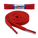 Flat Shoelaces Wide Shoes Lace (2 Pair) - Wide Shoelaces - Flat Shoe Laces for Sneakers and Shoes (54' inches (137 cm), Red)