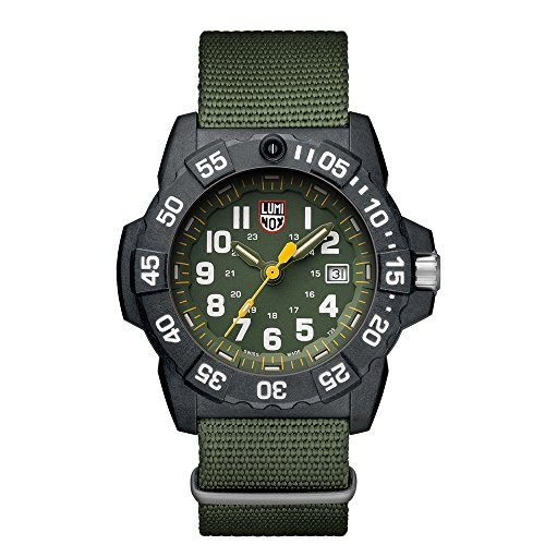 Luminox Men's 'SEA' Swiss Quartz Stainless Steel and Nylon Casual Watch, Color:Green (Model: 3517)