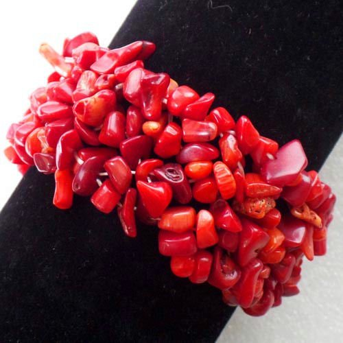 Bracelet Coral Chip Red (Beautiful Red Coral Chip Stretchy Bracelet 7 inch Send Randomly)