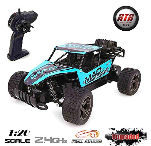 Lazaga RC Cars for kids, Lazaga Terrain RC Car, 1:20 All Terrain Remote Control High-Speed Telecar, Off road 2.4Ghz 2WD Remote Control Monster Truck, Best Christmas Gift for Kids and Adults(Blue) (Drift Car Control Police Remote)