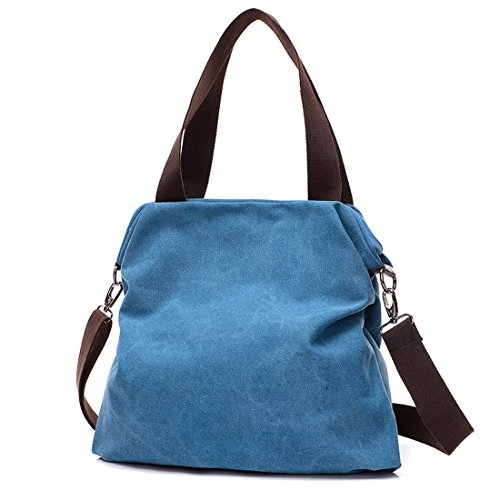for for Work Hobo School Shoulder Travel Bag Canvas Bag and UNYU Hobo Slouch Blue Crossbody Bag Bag Shopping Women q750pxT