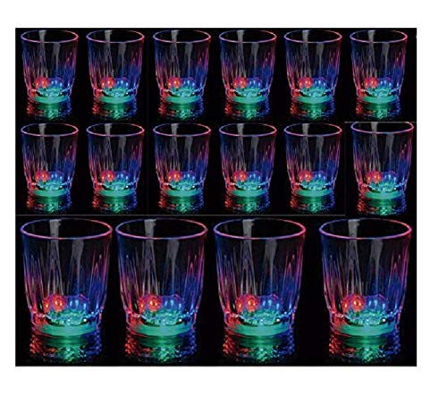 24 Light-Up Shot Glasses LED Flashing Drinking Blinking Barware Party Glass -