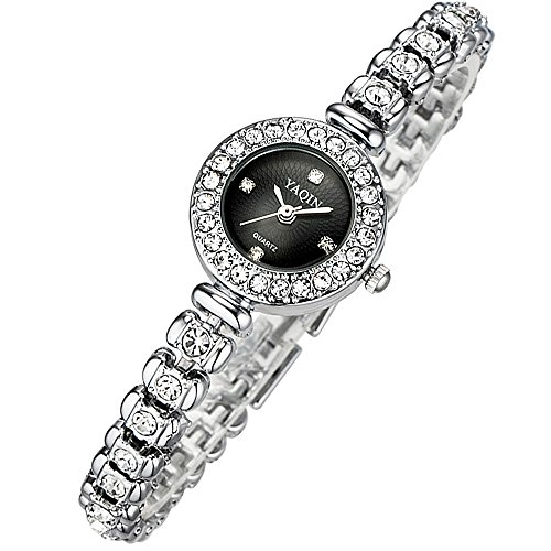 Women Bracelet Wrist Quartz Watch - Waterproof Dress Watches - Diamond Rhinestone Gold Watches - Women Ladies Wristwatch ()