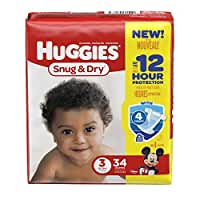 HUGGIES Snug & Dry Diapers, Size 3, 34 Count