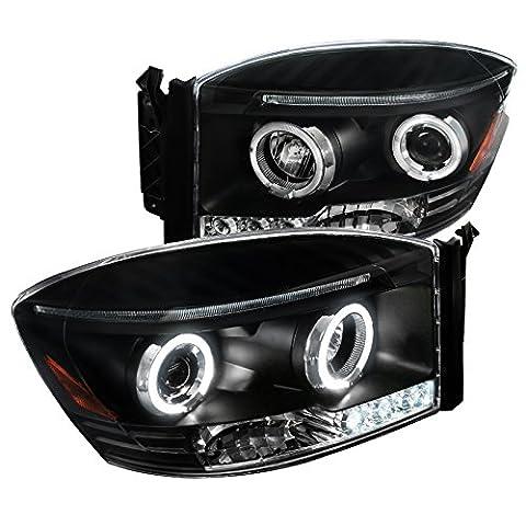 Spec-D Tuning 2LHP-RAM06JM-TM Dodge Ram Led Halo Black Projector Head Lights (08 Dodge Ram 1500 Headlights)