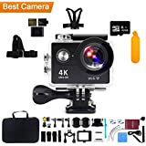 Action Camera 4K WiFi with 32G Micro SD card, Kebo 2.0 LCD Screen Ultra HD Waterproof Sport Camera with 170 Wide-Angle Lens, Full Accessories Kits and Waterproof Case - Black