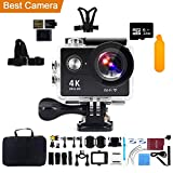 Action Camera 4K WiFi 32G Micro SD Card, Kebo 2.0'' LCD Screen Ultra HD Waterproof Sport Camera 170 Wide-Angle Lens, Full Accessories Kits Waterproof Case - Black