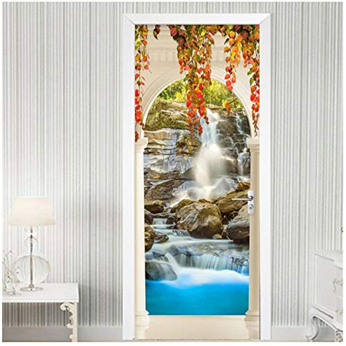 Wadyx 3D Door Stickers Waterfall Natural Scenery Arch Wallpaper Living Room Bathroom Waterproof Vinyl Door Decals DIY Self-Adhesive Wall Art 77X200Cm