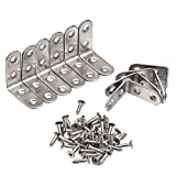 eBoot 40 x 40 mm 90 Degree Right Angle Brackets Stainless Steel Corner Braces with Screws, 10 Pack