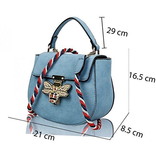 LeahWard Kleine Umhängetasche für Damen Designer Tote Grab Taschen Handtaschen für ihren Partyurlaub 0812 (WEISSE CREME) QUAY BLAU