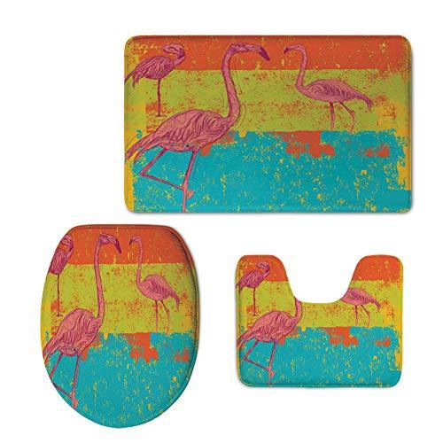 Fashion 3D Baseball Printed,Flamingo Decor,Illustration of Flamingos in Old Style Retro Vintage Colored Stripes Art Grunge Background,Multi,U-Shaped Toilet Mat+Area Rug+Toilet Lid Covers 3PCS/Set -