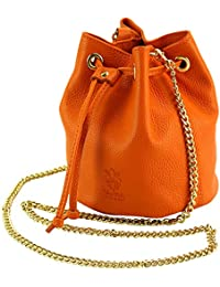 Crossbody Bag for Women Drawstring Bucket Purse and Handbag w/Chain Strap Genuine Italian Leather – Ilaria