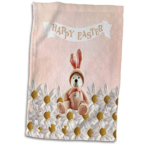 3dRose Beverly Turner Easter Design and Photography - Bear Dressed in Bunny Costume Sitting on Daisies, Happy Easter, Peach - 15x22 Hand Towel -
