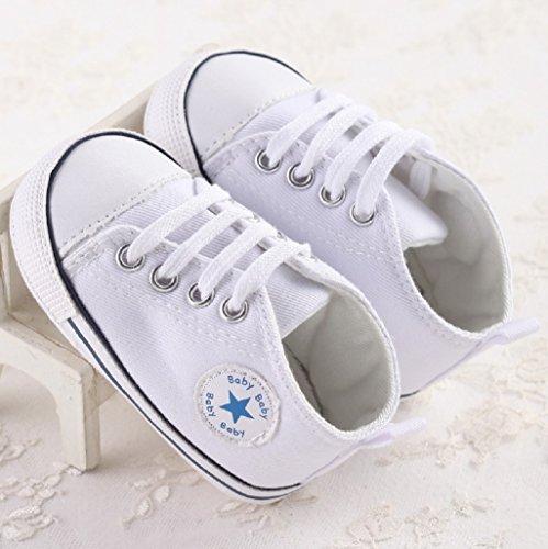 Zapatos para bebé Auxma La zapatilla de deporte antideslizante del zapato de lona de la zapatilla de deporte Para 3-6 6-12 12-18 M Blanco