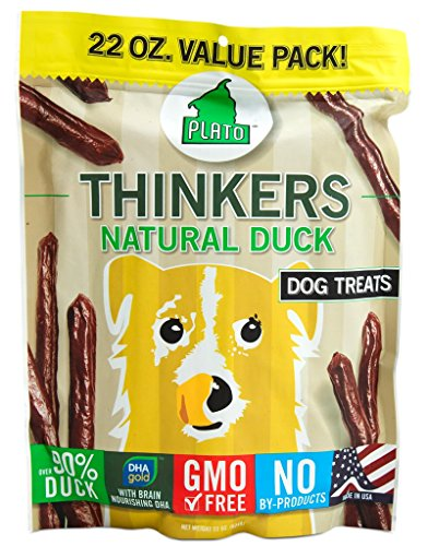 PLATO Dog Treats - Thinkers Natural Duck Sticks- 22 oz