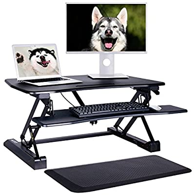 """Leader Accessories Height Adjustable Standing Desk - Comfort Anti Fatigue Mat Included - 35"""" Wide Tabletop Workstation fits Dual Monitor, Spacious Keyboard Tray, Ergonomic Sit to Stand Desk Converter"""